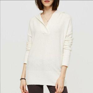 Lou & Grey White Soft Hoodie Tunic Sweater Small
